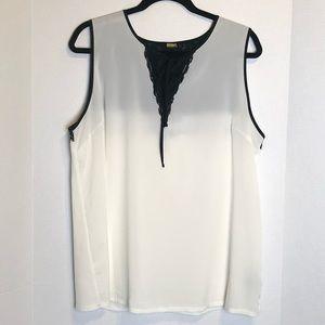 Worthington | Cream & Black Lacey Corset Blouse XL